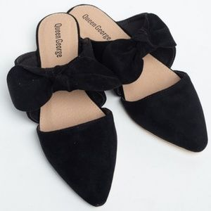 Shoes - Just In Pointy Toe Bow Tie Flat Mules  Black